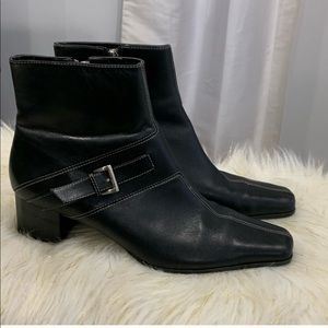 Ann Klein black leather boots shoes size 9.5M
